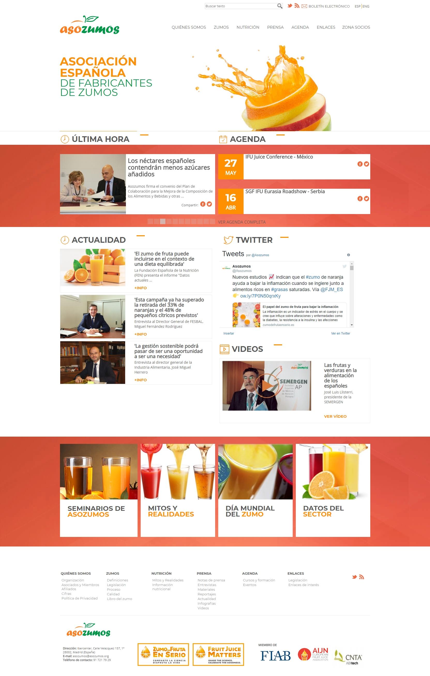 Diseño y desarrollo de web de la asociación asozumos