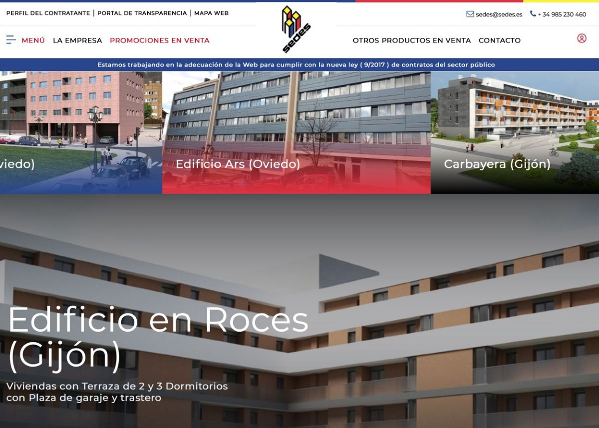 diseño web inmobiliaria Sedes S.A.