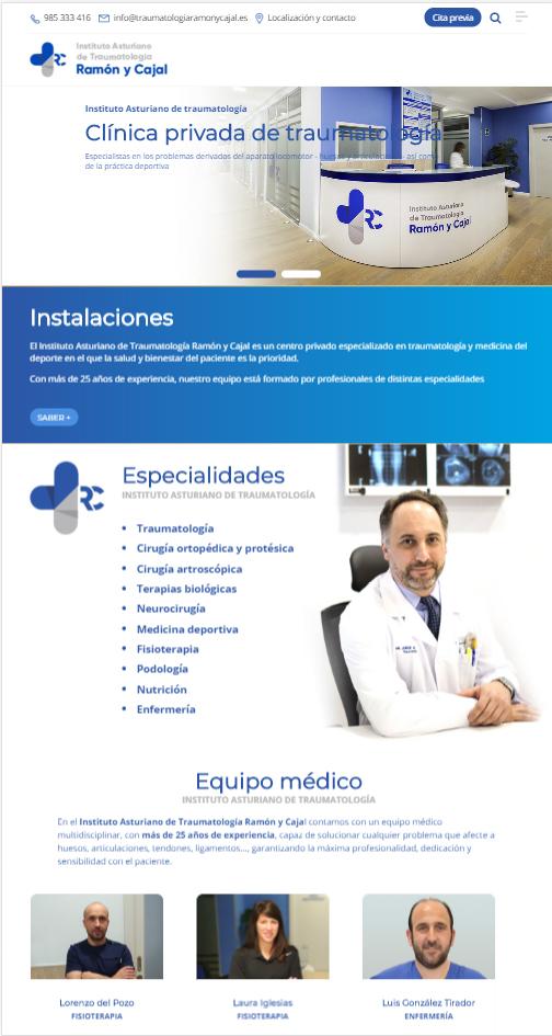 web clínica traumatología gijón