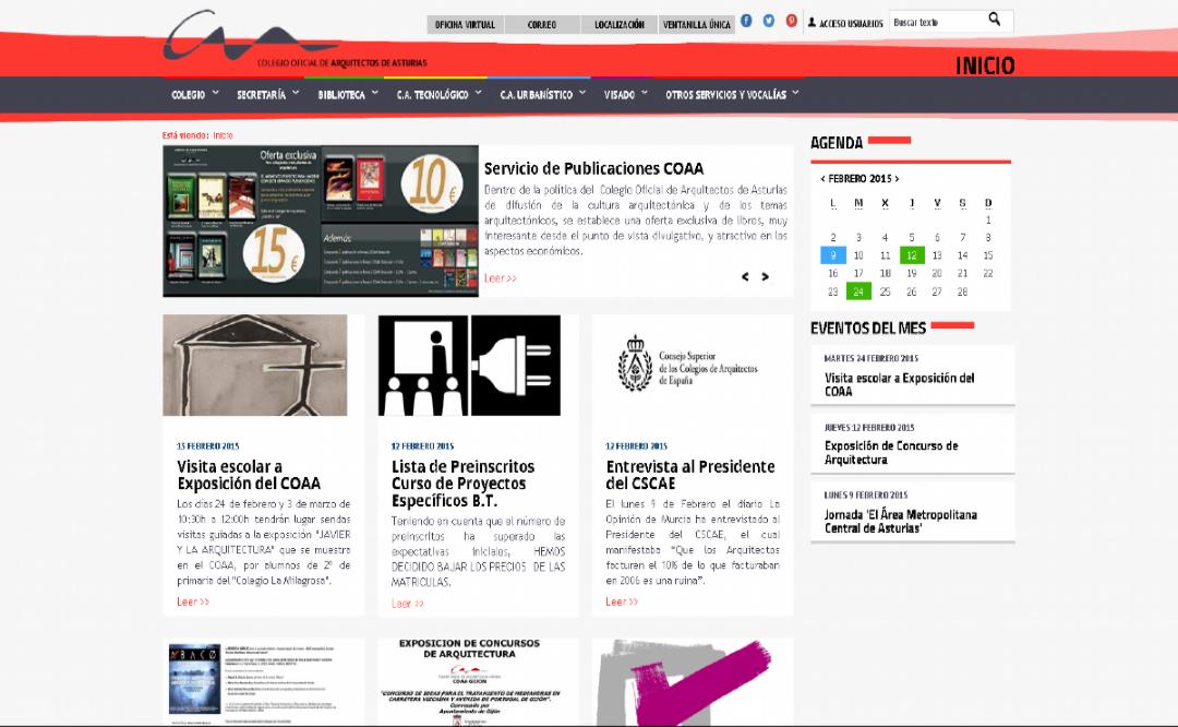 página del colegio de arquitectos