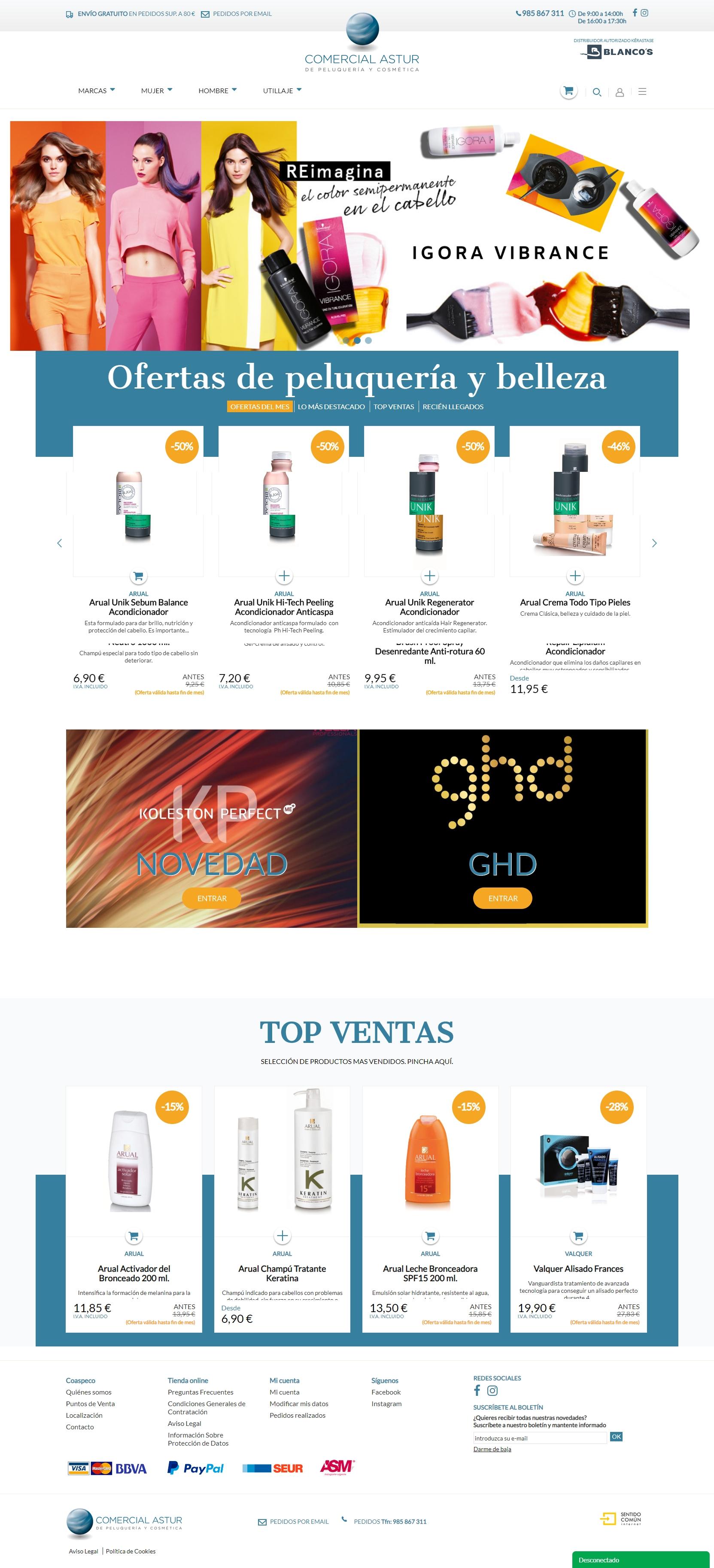 Tienda online de productos de peluquería